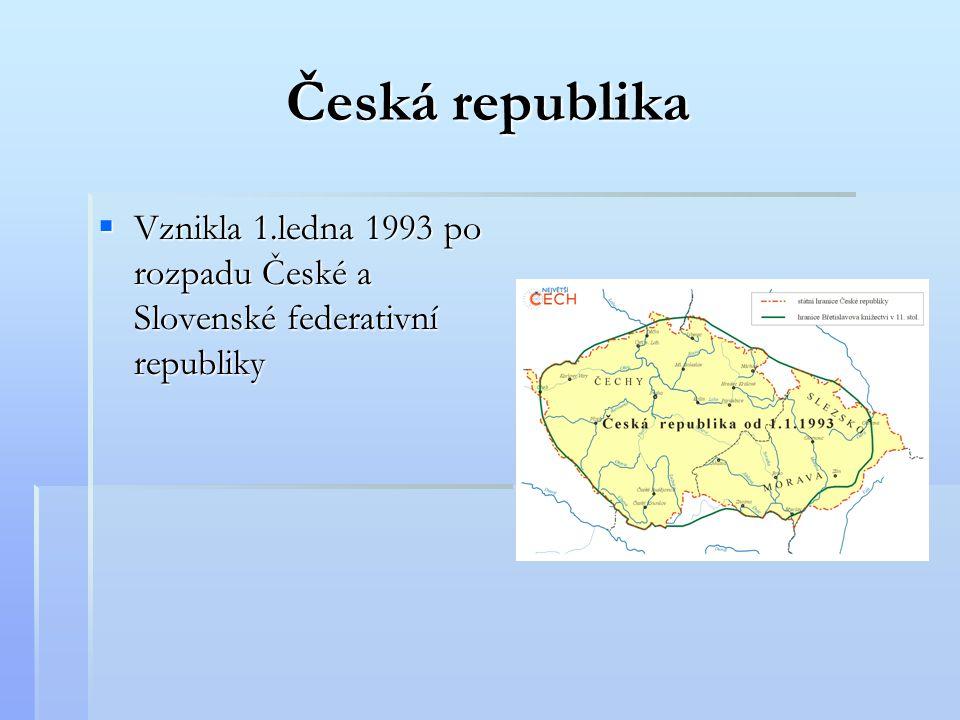 Česká republika VVVVznikla 1.ledna 1993 po rozpadu České a Slovenské federativní republiky