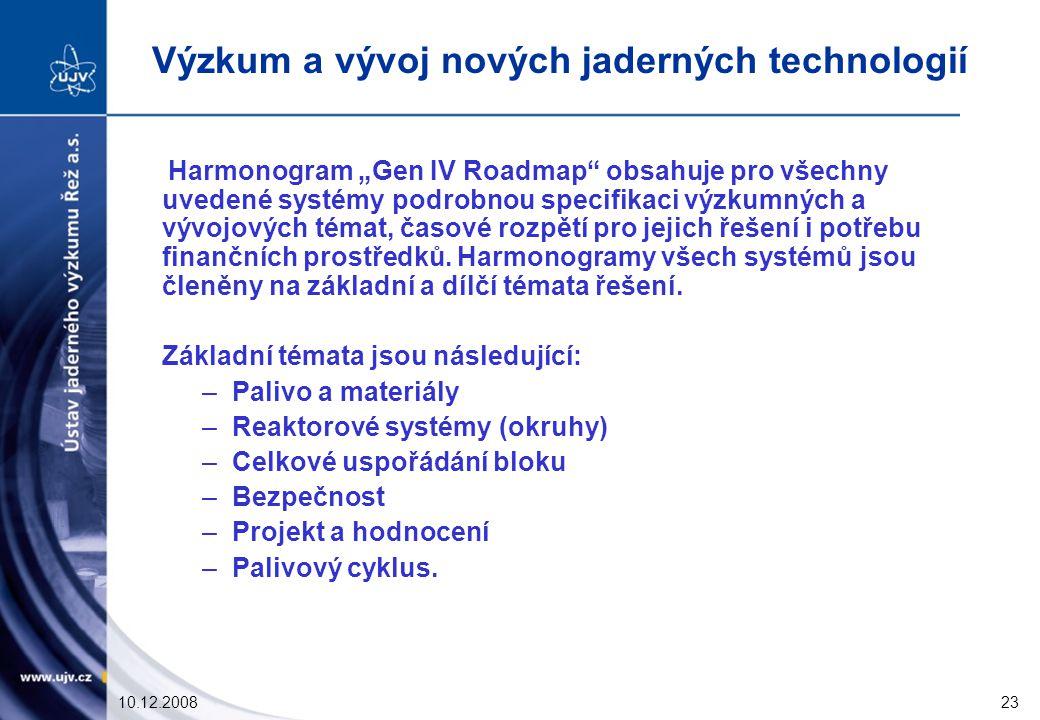 """10.12.200823 Harmonogram """"Gen IV Roadmap obsahuje pro všechny uvedené systémy podrobnou specifikaci výzkumných a vývojových témat, časové rozpětí pro jejich řešení i potřebu finančních prostředků."""