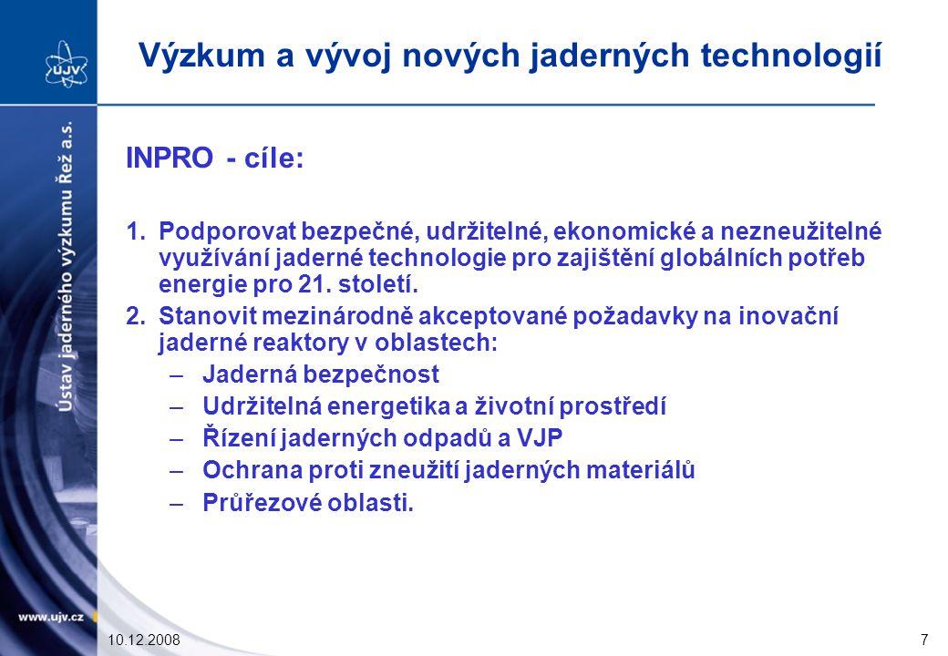 10.12.20087 INPRO - cíle: 1.Podporovat bezpečné, udržitelné, ekonomické a nezneužitelné využívání jaderné technologie pro zajištění globálních potřeb energie pro 21.