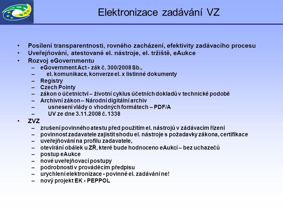Elektronizace zadávání VZ Posílení transparentnosti, rovného zacházení, efektivity zadávacího procesu Uveřejňování, atestované el. nástroje, el. tržiš