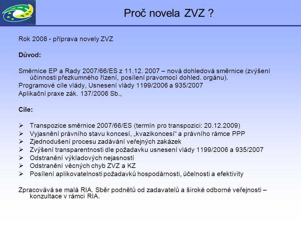 Proč novela ZVZ ? Rok 2008 - příprava novely ZVZ Důvod: Směrnice EP a Rady 2007/66/ES z 11.12. 2007 – nová dohledová směrnice (zvýšení účinnosti přezk