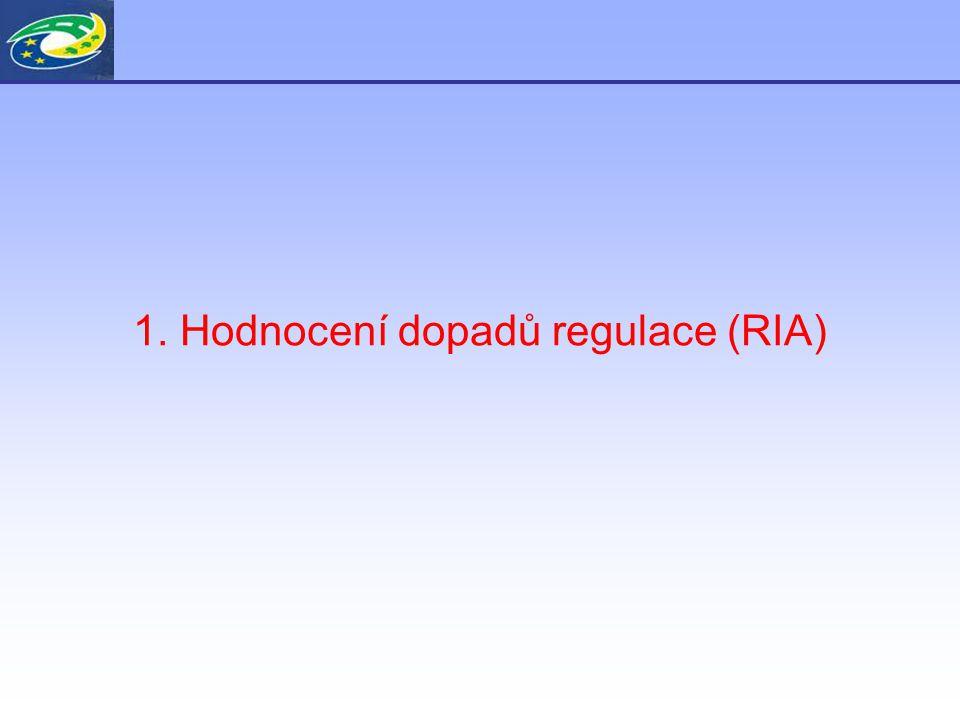1. Hodnocení dopadů regulace (RIA)