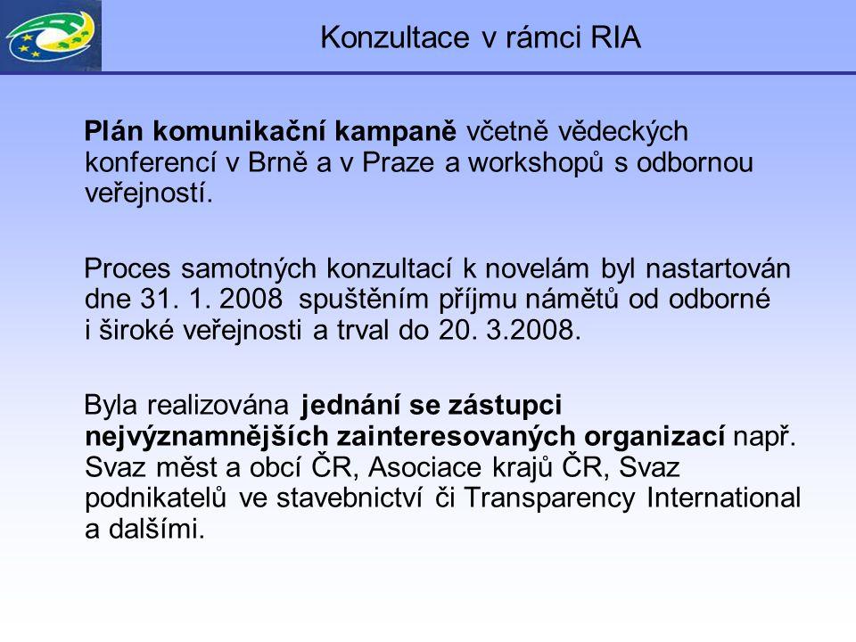 Konzultace v rámci RIA Formy pro oslovení veřejnosti : adresný dopis (cíleně osloveno 90 subjektů - státní správa, profesní samospráva, územně samosprávné celky), informační e-mail (identifikace zainteresovaných subjektů prostřednictvím DataKO, asociací, apod.), webový on-line formulář/anketa – shromážděno 353 námětů Informace s výzvou k podávání námětů k novelám byla uveřejněna i na vybraných internetových adresách Odhad počtu osob dotčených regulací: - počet zadavatelů a pracovníků zadavatelů cca.