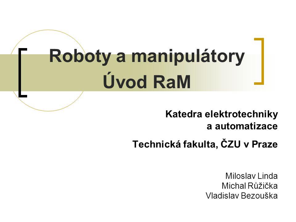 """Základní pojmy International Organisation for Standardisation (ISO) zavedla definici pro roboty činné ve výrobě  """"Průmyslový robot (PR) je automaticky řízený, reprogramovatelný, víceúčelový manipulační stroj, stacionární nebo umístěný na pojezdu, určený k použití v průmyslové automatizaci."""
