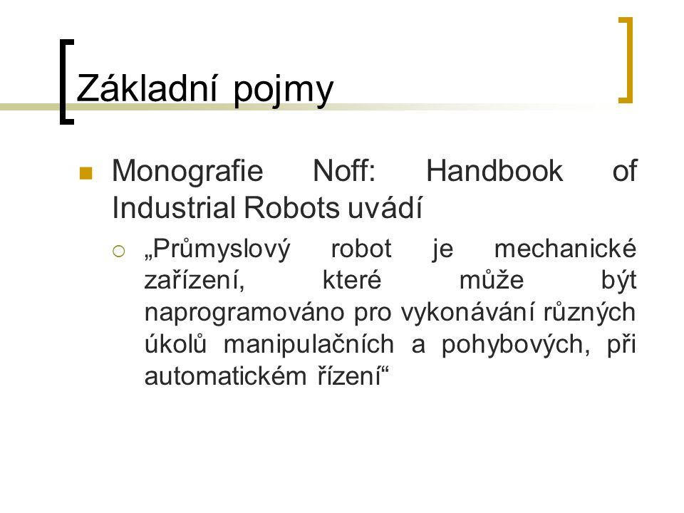 """Základní pojmy Monografie Noff: Handbook of Industrial Robots uvádí  """"Průmyslový robot je mechanické zařízení, které může být naprogramováno pro vyko"""