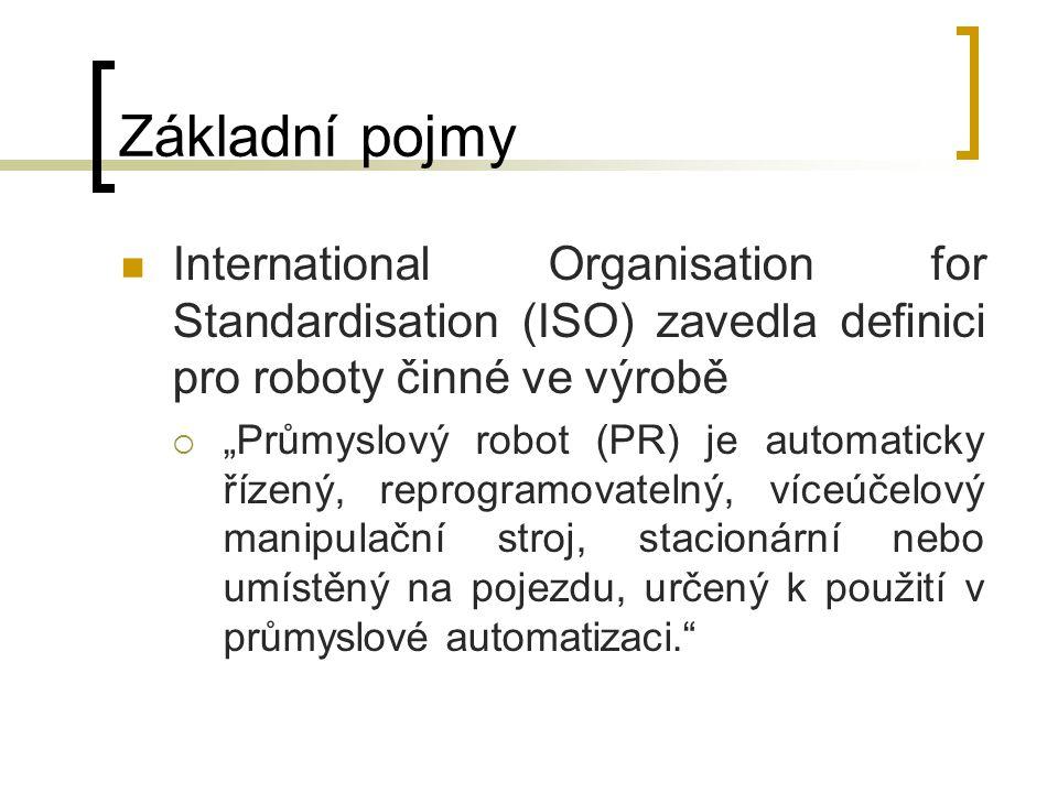"""Základní pojmy International Organisation for Standardisation (ISO) zavedla definici pro roboty činné ve výrobě  """"Průmyslový robot (PR) je automatick"""