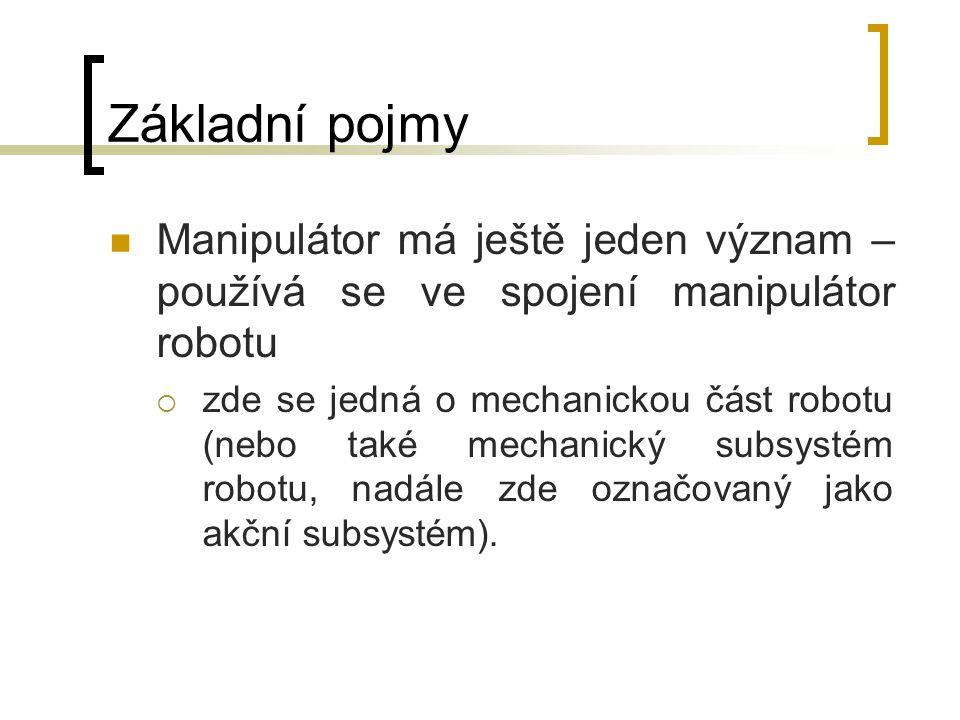 Základní pojmy Manipulátor má ještě jeden význam – používá se ve spojení manipulátor robotu  zde se jedná o mechanickou část robotu (nebo také mechan