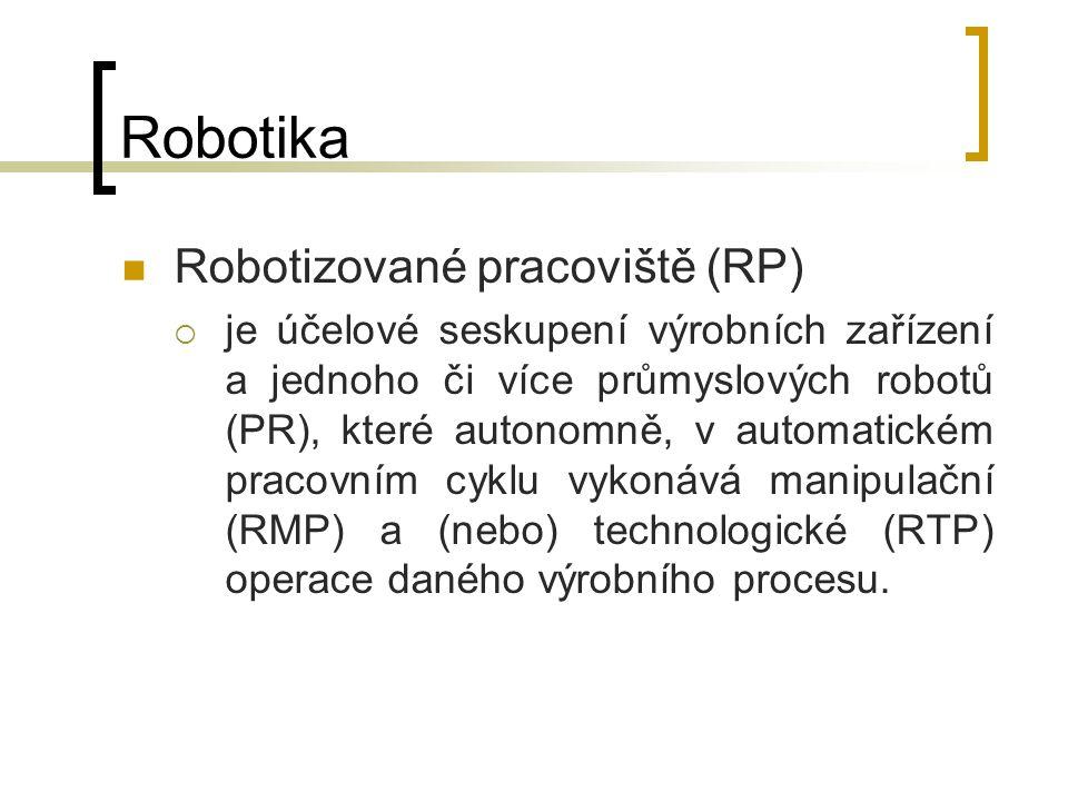 Robotika Robotizované pracoviště (RP)  je účelové seskupení výrobních zařízení a jednoho či více průmyslových robotů (PR), které autonomně, v automat