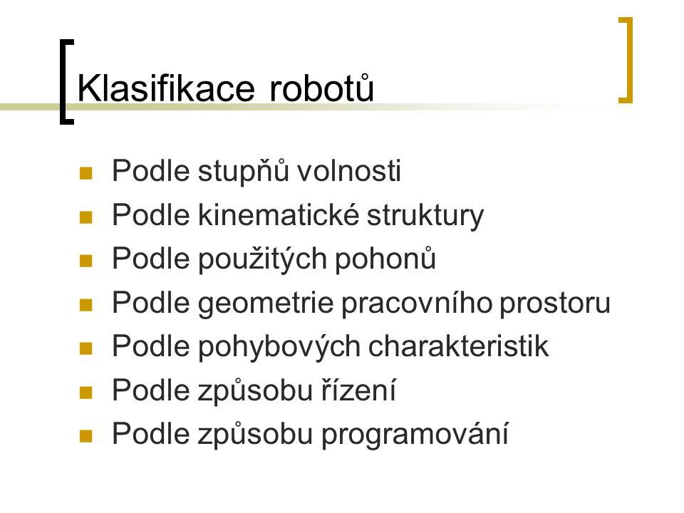 Klasifikace robotů Podle stupňů volnosti Podle kinematické struktury Podle použitých pohonů Podle geometrie pracovního prostoru Podle pohybových chara