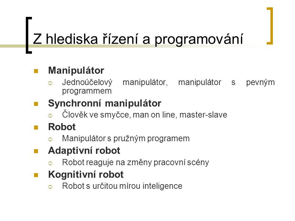 Z hlediska řízení a programování Manipulátor  Jednoúčelový manipulátor, manipulátor s pevným programmem Synchronní manipulátor  Člověk ve smyčce, ma