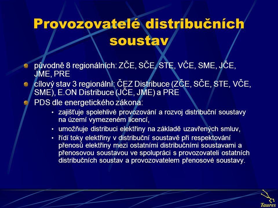Provozovatelé distribučních soustav původně 8 regionálních: ZČE, SČE, STE, VČE, SME, JČE, JME, PRE cílový stav 3 regionální: ČEZ Distribuce (ZČE, SČE,