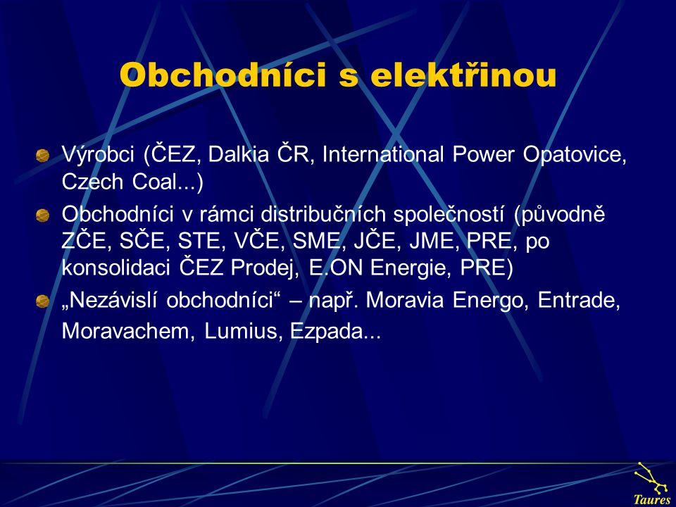 Výrobci (ČEZ, Dalkia ČR, International Power Opatovice, Czech Coal...) Obchodníci v rámci distribučních společností (původně ZČE, SČE, STE, VČE, SME,