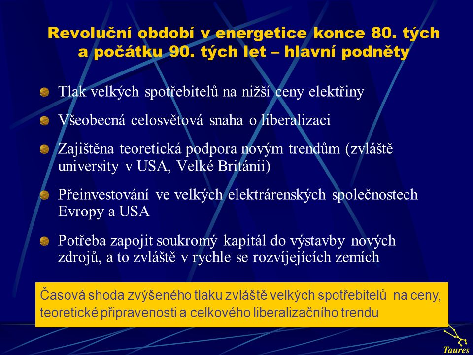 Motivace liberalizace energetiky v evropském kontextu Celkový záměr: Zvýšit konkurenceschopnost EU na světových trzích Liberalizace trhu s elektřinou a zemním plynem měla z obecného pohledu za cíl: snížit ceny elektřiny a zemního plynu pro koncové zákazníky vytvořit podnikatelské prostředí v oblasti elektroenergetiky a plynárenství snížit zásahy státu v oblasti elektroenergetiky a plynárenství zvýšit benefit pro zákazníky v podobě zvýšené péče dodavatelů
