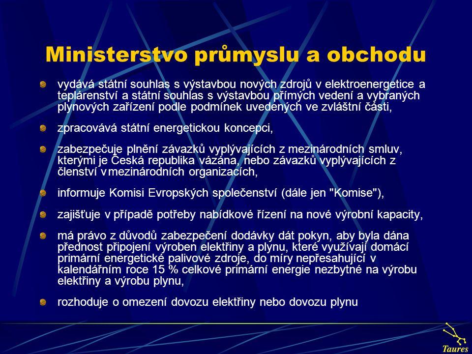 Ministerstvo průmyslu a obchodu vydává státní souhlas s výstavbou nových zdrojů v elektroenergetice a teplárenství a státní souhlas s výstavbou přímýc