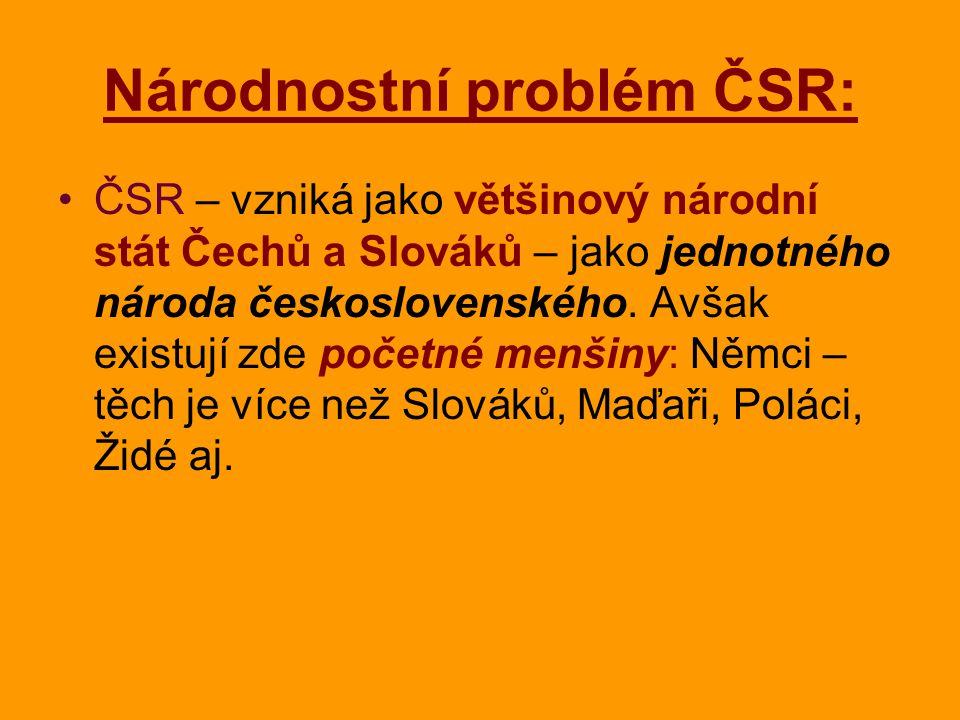 Národnostní problém ČSR: ČSR – vzniká jako většinový národní stát Čechů a Slováků – jako jednotného národa československého. Avšak existují zde početn