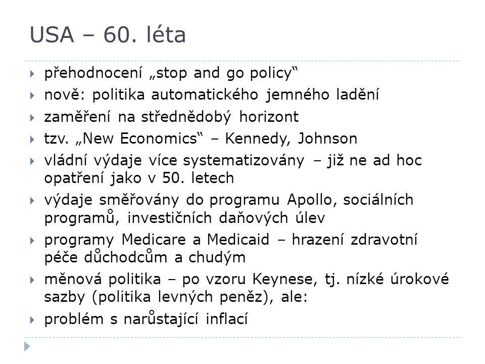 """USA – 60. léta  přehodnocení """"stop and go policy""""  nově: politika automatického jemného ladění  zaměření na střednědobý horizont  tzv. """"New Econom"""