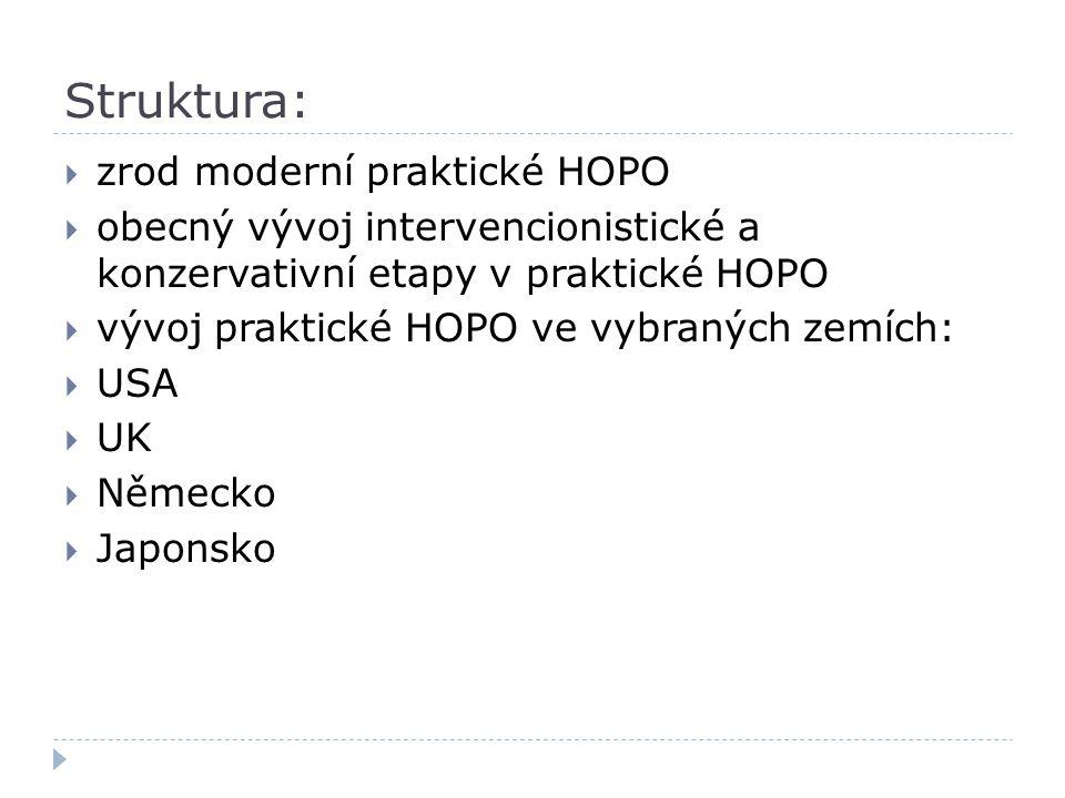 Struktura:  zrod moderní praktické HOPO  obecný vývoj intervencionistické a konzervativní etapy v praktické HOPO  vývoj praktické HOPO ve vybraných