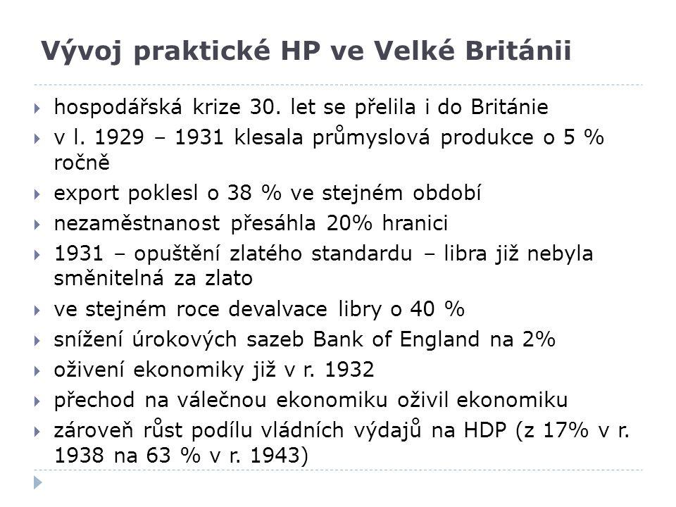 Vývoj praktické HP ve Velké Británii  hospodářská krize 30. let se přelila i do Británie  v l. 1929 – 1931 klesala průmyslová produkce o 5 % ročně 