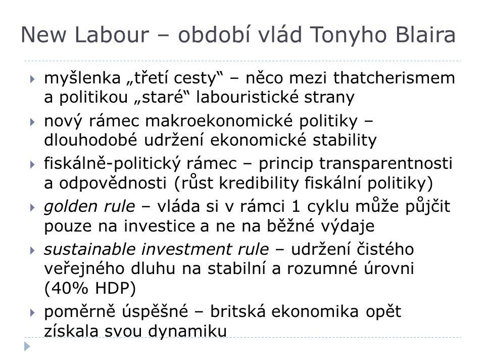 """New Labour – období vlád Tonyho Blaira  myšlenka """"třetí cesty"""" – něco mezi thatcherismem a politikou """"staré"""" labouristické strany  nový rámec makroe"""