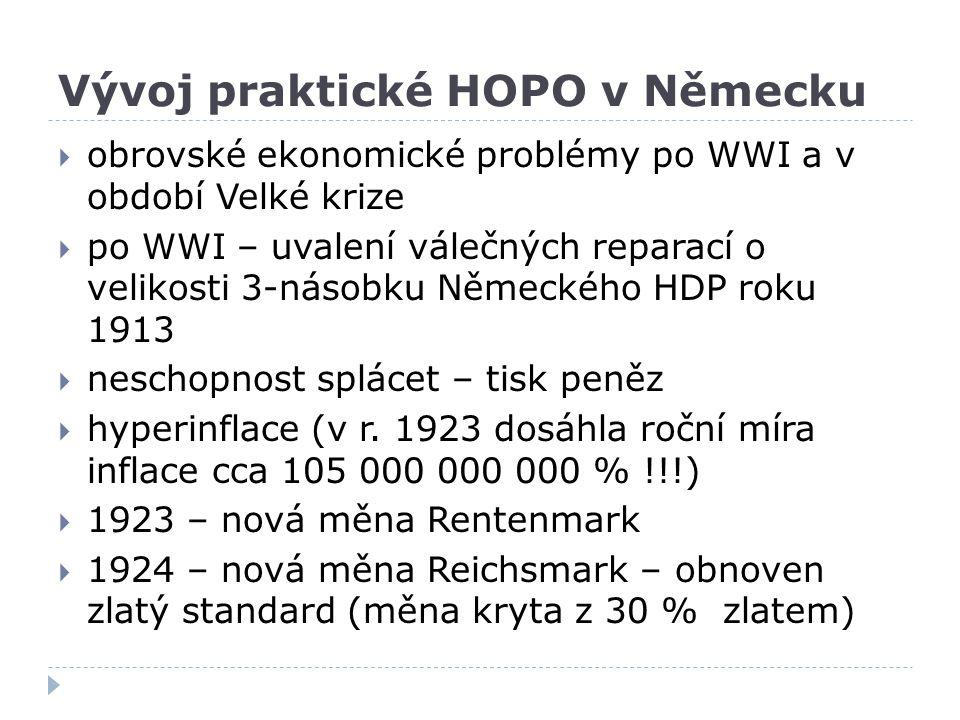 Vývoj praktické HOPO v Německu  obrovské ekonomické problémy po WWI a v období Velké krize  po WWI – uvalení válečných reparací o velikosti 3-násobk