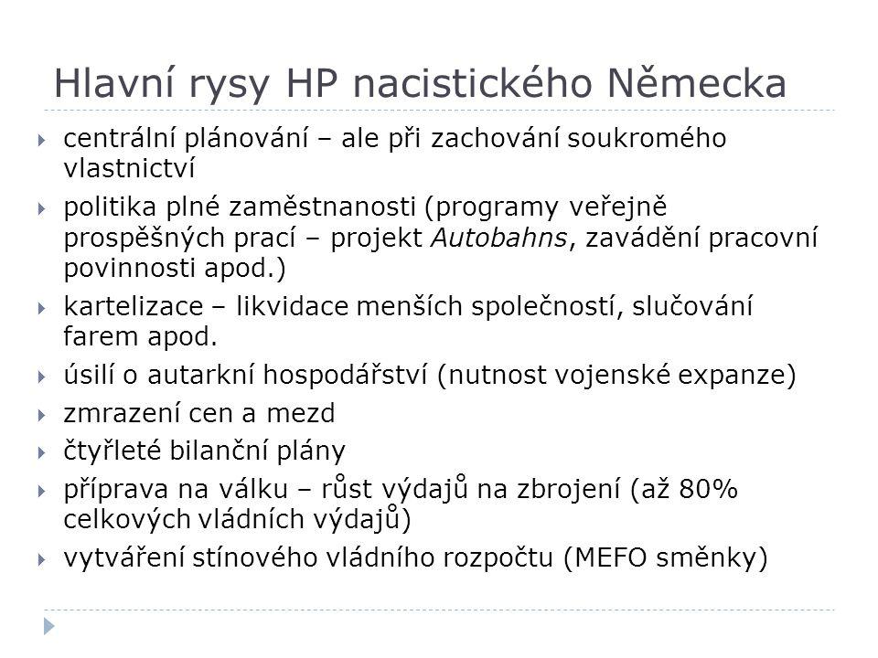 Hlavní rysy HP nacistického Německa  centrální plánování – ale při zachování soukromého vlastnictví  politika plné zaměstnanosti (programy veřejně p