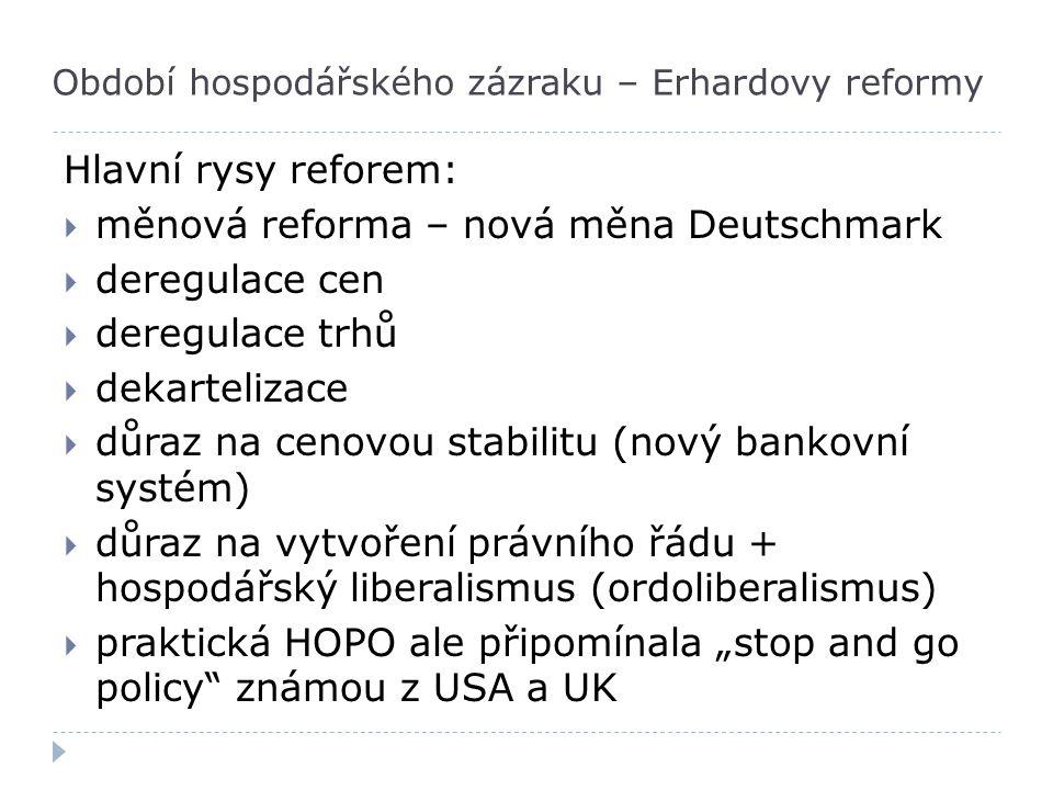 Období hospodářského zázraku – Erhardovy reformy Hlavní rysy reforem:  měnová reforma – nová měna Deutschmark  deregulace cen  deregulace trhů  de