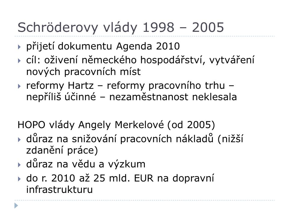 Schröderovy vlády 1998 – 2005  přijetí dokumentu Agenda 2010  cíl: oživení německého hospodářství, vytváření nových pracovních míst  reformy Hartz