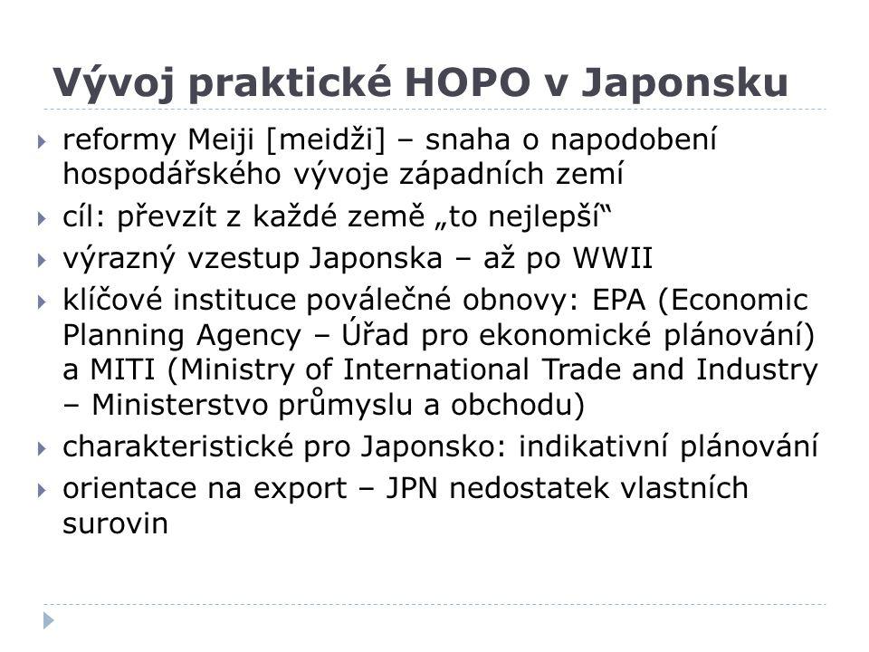 """Vývoj praktické HOPO v Japonsku  reformy Meiji [meidži] – snaha o napodobení hospodářského vývoje západních zemí  cíl: převzít z každé země """"to nejl"""