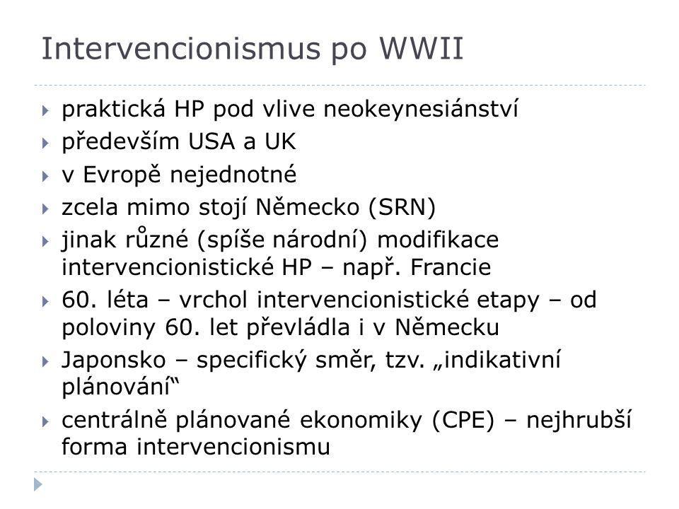  praktická HP pod vlive neokeynesiánství  především USA a UK  v Evropě nejednotné  zcela mimo stojí Německo (SRN)  jinak různé (spíše národní) mo