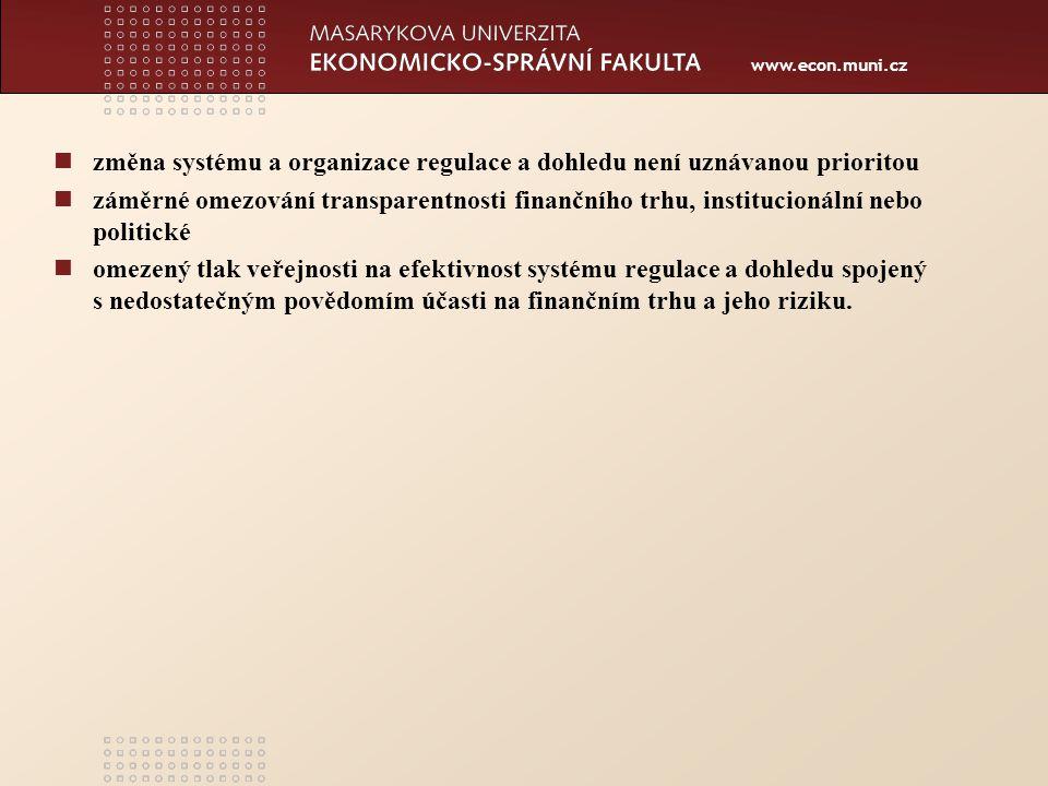 www.econ.muni.cz změna systému a organizace regulace a dohledu není uznávanou prioritou záměrné omezování transparentnosti finančního trhu, institucionální nebo politické omezený tlak veřejnosti na efektivnost systému regulace a dohledu spojený s nedostatečným povědomím účasti na finančním trhu a jeho riziku.