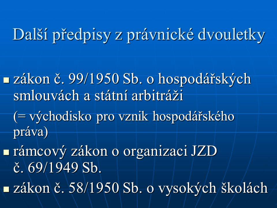 Další předpisy z právnické dvouletky zákon č. 99/1950 Sb. o hospodářských smlouvách a státní arbitráži zákon č. 99/1950 Sb. o hospodářských smlouvách