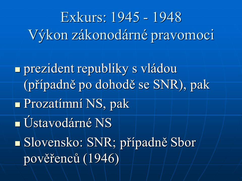 Exkurs: 1945 - 1948 Výkon zákonodárné pravomoci prezident republiky s vládou (případně po dohodě se SNR), pak prezident republiky s vládou (případně po dohodě se SNR), pak Prozatímní NS, pak Prozatímní NS, pak Ústavodárné NS Ústavodárné NS Slovensko: SNR; případně Sbor pověřenců (1946) Slovensko: SNR; případně Sbor pověřenců (1946)