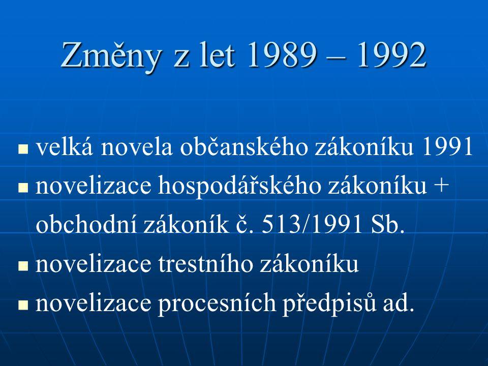 Změny z let 1989 – 1992 velká novela občanského zákoníku 1991 novelizace hospodářského zákoníku + obchodní zákoník č. 513/1991 Sb. novelizace trestníh