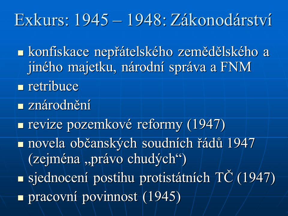 """Exkurs: 1945 – 1948: Zákonodárství konfiskace nepřátelského zemědělského a jiného majetku, národní správa a FNM konfiskace nepřátelského zemědělského a jiného majetku, národní správa a FNM retribuce retribuce znárodnění znárodnění revize pozemkové reformy (1947) revize pozemkové reformy (1947) novela občanských soudních řádů 1947 (zejména """"právo chudých ) novela občanských soudních řádů 1947 (zejména """"právo chudých ) sjednocení postihu protistátních TČ (1947) sjednocení postihu protistátních TČ (1947) pracovní povinnost (1945) pracovní povinnost (1945)"""