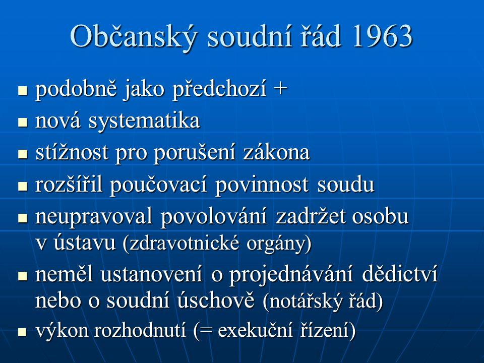 Občanský soudní řád 1963 podobně jako předchozí + podobně jako předchozí + nová systematika nová systematika stížnost pro porušení zákona stížnost pro
