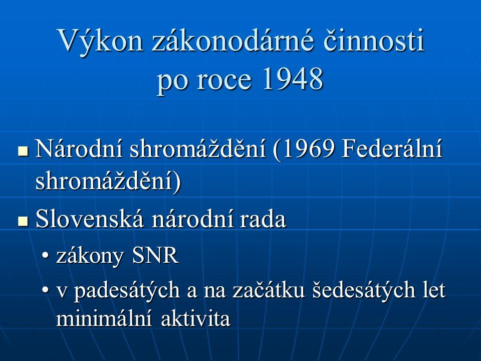 Výkon zákonodárné činnosti po roce 1948 Národní shromáždění (1969 Federální shromáždění) Národní shromáždění (1969 Federální shromáždění) Slovenská národní rada Slovenská národní rada zákony SNRzákony SNR v padesátých a na začátku šedesátých let minimální aktivitav padesátých a na začátku šedesátých let minimální aktivita