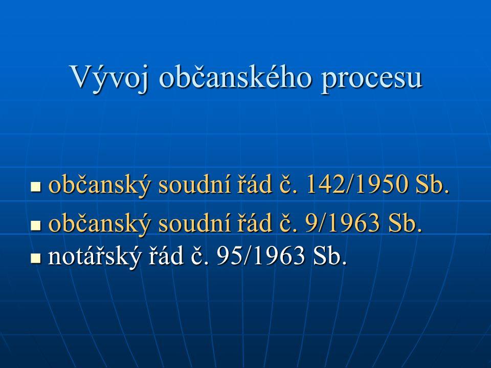 Vývoj občanského procesu občanský soudní řád č.142/1950 Sb.
