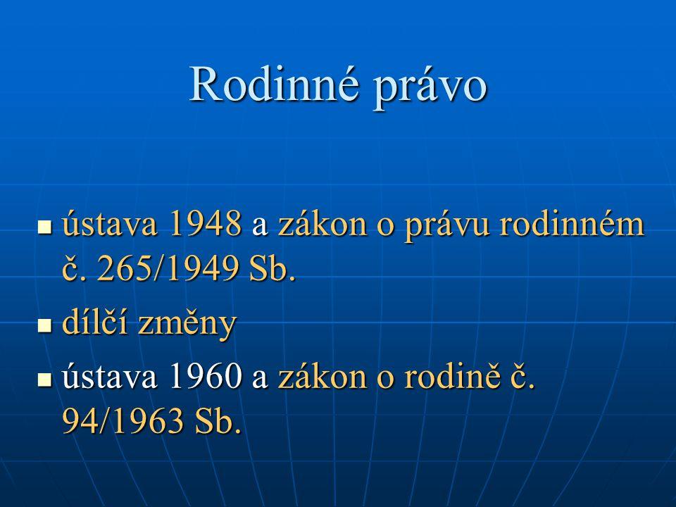 Rodinné právo ústava 1948 a zákon o právu rodinném č.