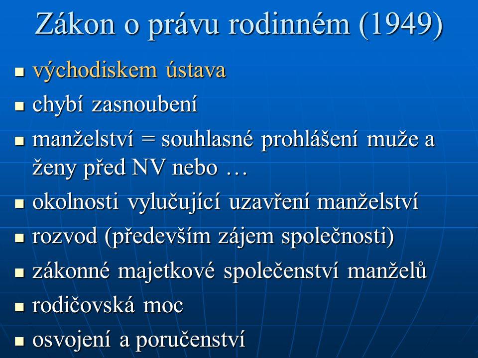 Zákon o právu rodinném (1949) východiskem ústava východiskem ústava chybí zasnoubení chybí zasnoubení manželství = souhlasné prohlášení muže a ženy př