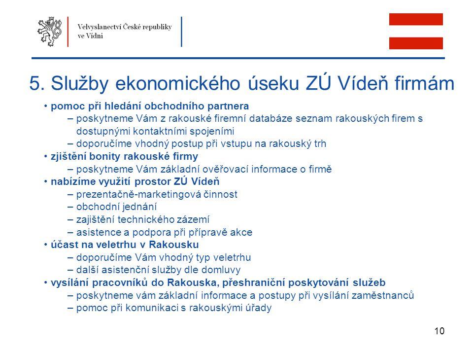 10 5. Služby ekonomického úseku ZÚ Vídeň firmám pomoc při hledání obchodního partnera – poskytneme Vám z rakouské firemní databáze seznam rakouských f
