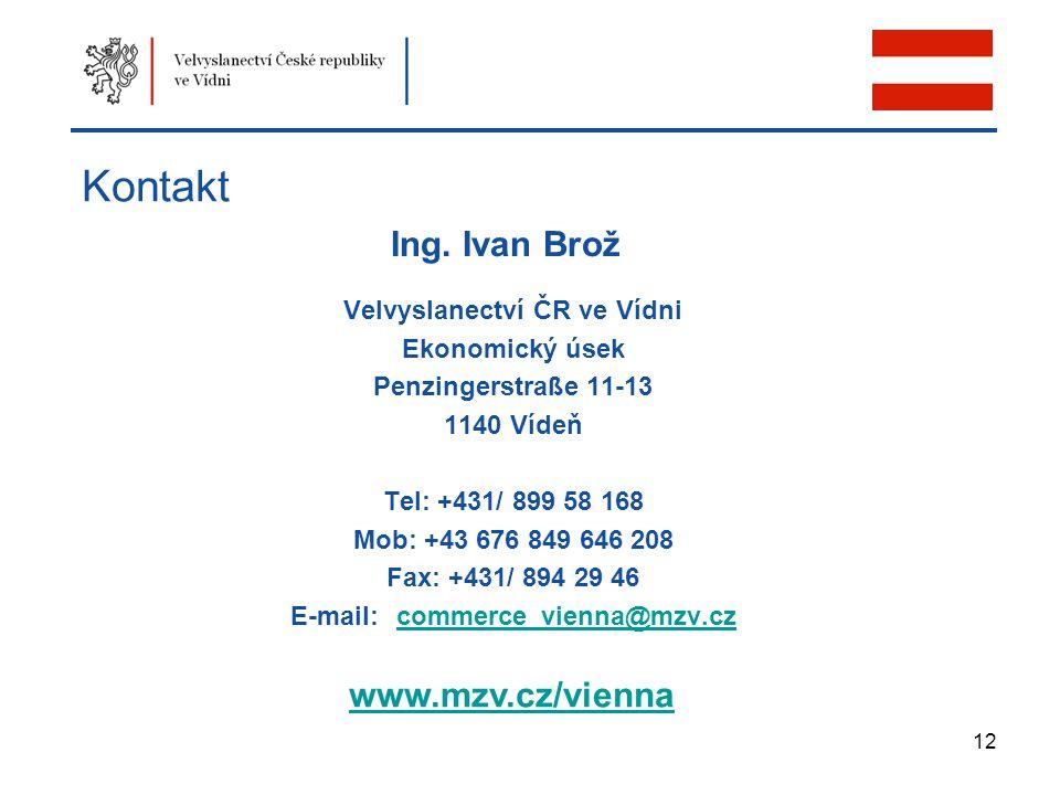 12 Kontakt Velvyslanectví ČR ve Vídni Ekonomický úsek Penzingerstraße 11-13 1140 Vídeň Tel: +431/ 899 58 168 Mob: +43 676 849 646 208 Fax: +431/ 894 2