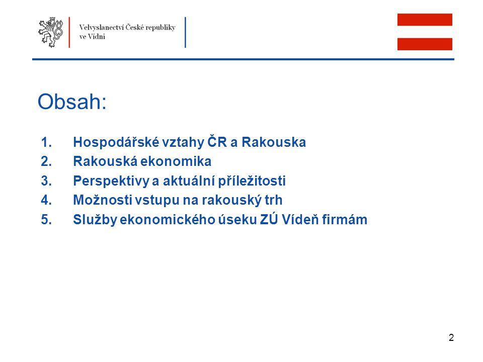 2 Obsah: 1.Hospodářské vztahy ČR a Rakouska 2.Rakouská ekonomika 3.Perspektivy a aktuální příležitosti 4.Možnosti vstupu na rakouský trh 5.Služby ekon