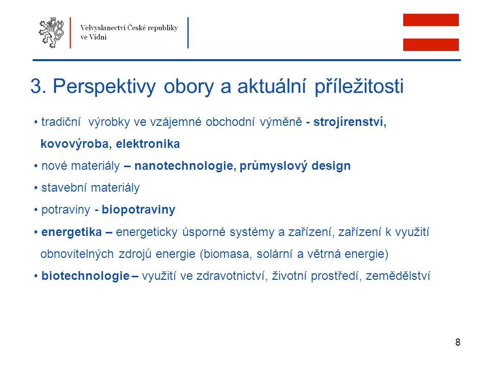 8 3. Perspektivy obory a aktuální příležitosti tradiční výrobky ve vzájemné obchodní výměně - strojírenství, kovovýroba, elektronika nové materiály –