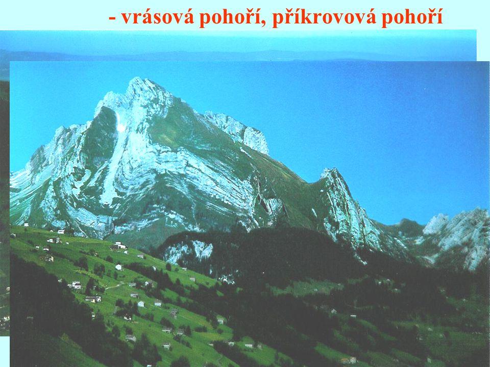 - vrásová pohoří, příkrovová pohoří