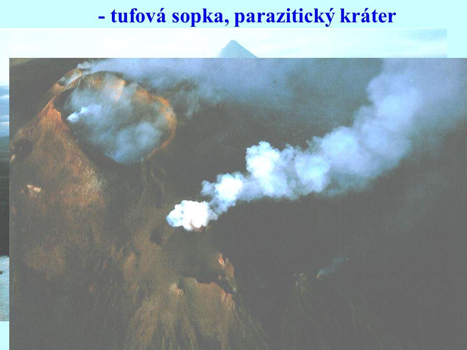 - tufová sopka, parazitický kráter