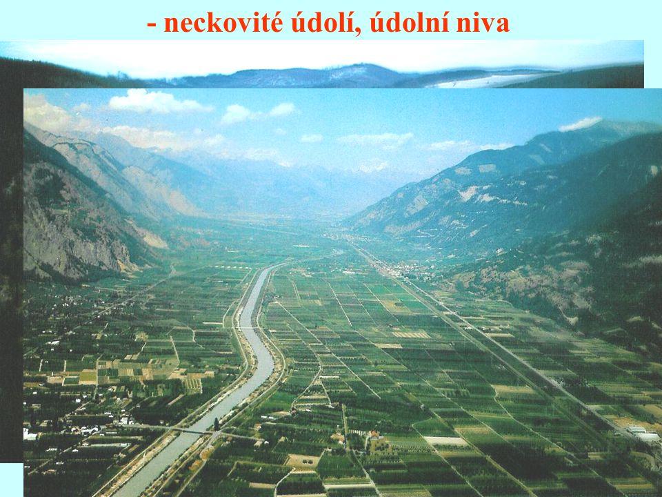 - neckovité údolí, údolní niva