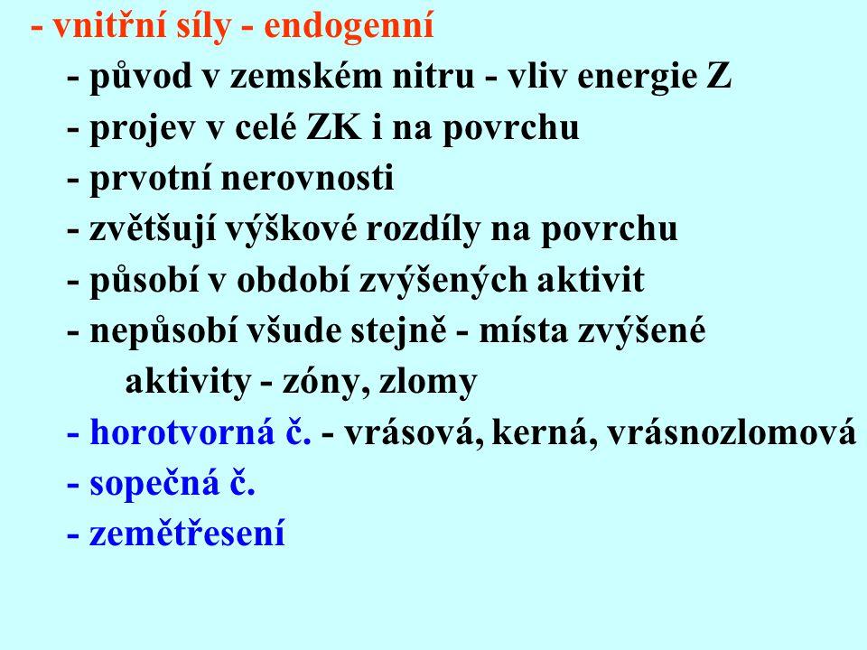 - vnitřní síly - endogenní - původ v zemském nitru - vliv energie Z - projev v celé ZK i na povrchu - prvotní nerovnosti - zvětšují výškové rozdíly na