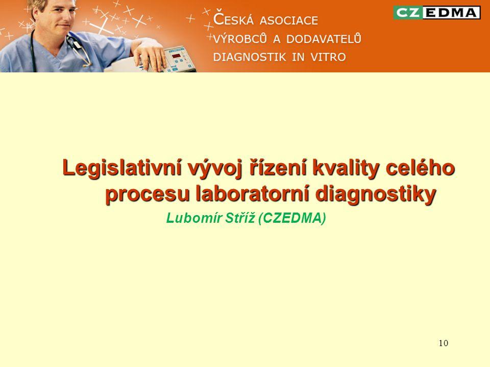 10 Legislativní vývoj řízení kvality celého procesu laboratorní diagnostiky Lubomír Stříž (CZEDMA)