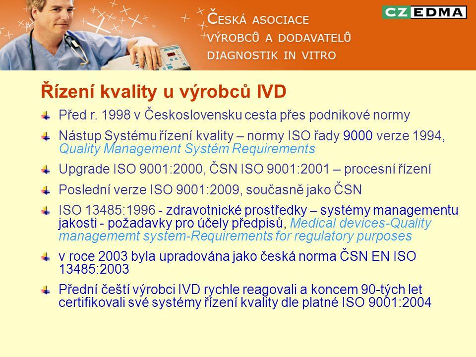 Řízení kvality u výrobců IVD Před r. 1998 v Československu cesta přes podnikové normy Nástup Systému řízení kvality – normy ISO řady 9000 verze 1994,