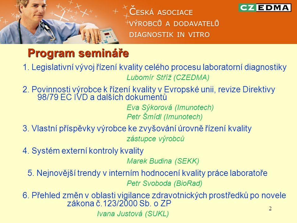 2 Program semináře 1. Legislativní vývoj řízení kvality celého procesu laboratorní diagnostiky Lubomír Stříž (CZEDMA) 2. Povinnosti výrobce k řízení k